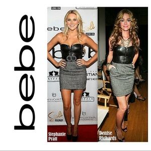 BEBE leather bustier corset prom strapless dress
